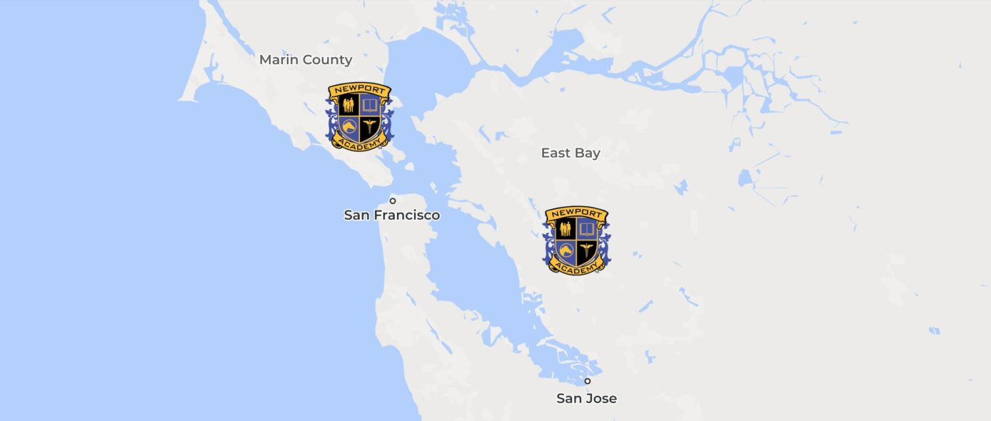 A map of the San Francisco Bay area, with the cities of San Francisco and San Jose marked, along with Marin County and East Bay. Newport Academy crests show the locations of 2 treatment centers, one north of San Francisco at the south end of Marin County, and the other south of East Bay and north of San Jose.