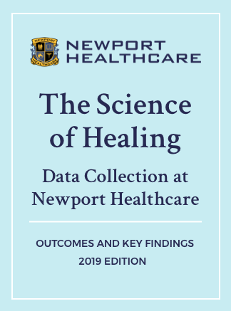 Report cover, The Science of Healing: Data Collection at Newport Healthcare, Outcomes and Key Findings, 2019 Edition