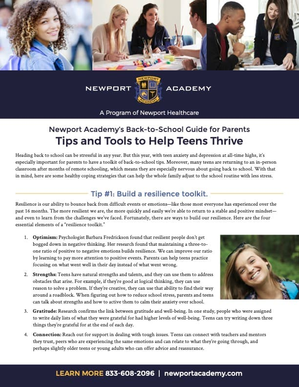 Cover of the Newport Healthcare Back to School Guide