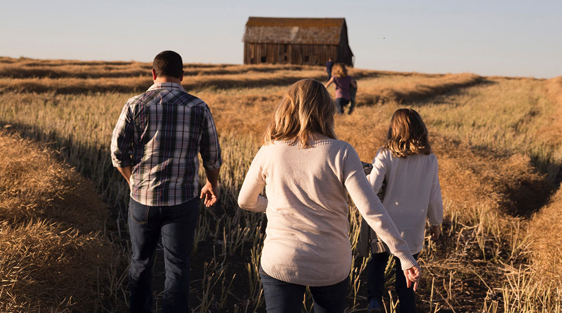 Family in a Field - Holiday Traditions